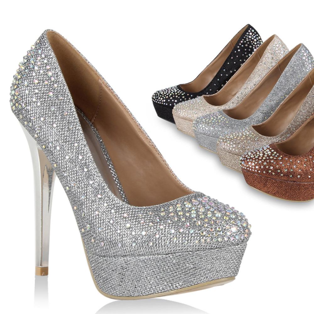 party pumps mit strass und nieten sexy schuhe high heels. Black Bedroom Furniture Sets. Home Design Ideas