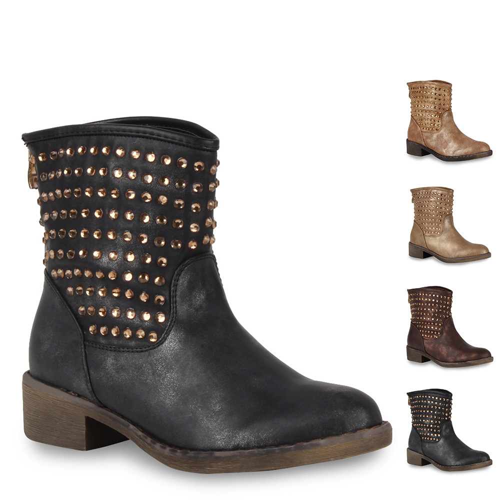moderne damen stiefeletten strass stiefel must have schuhe 98123 gr 36 41 ebay. Black Bedroom Furniture Sets. Home Design Ideas