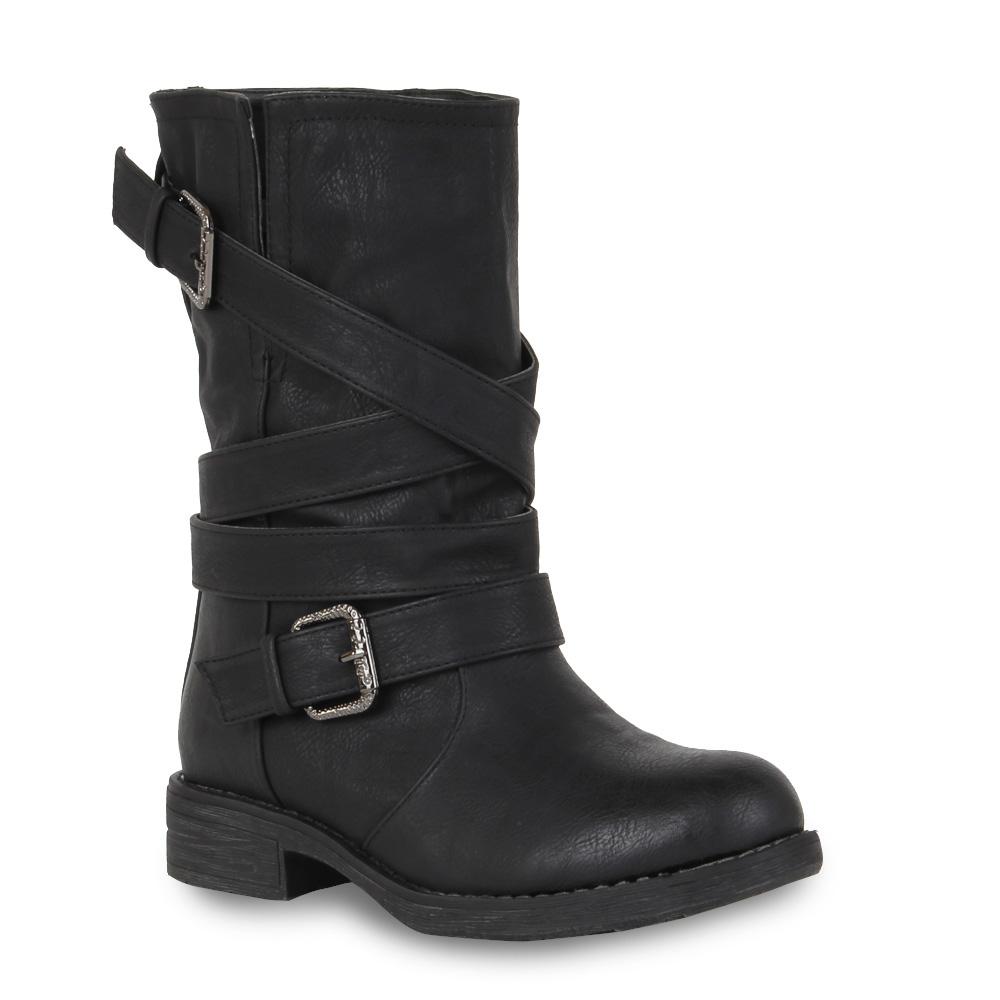 Biker-Boots-Damen-Stiefeletten-Schuhe-Stiefel-Leicht-Gefuettert-98174-Gr-36-41