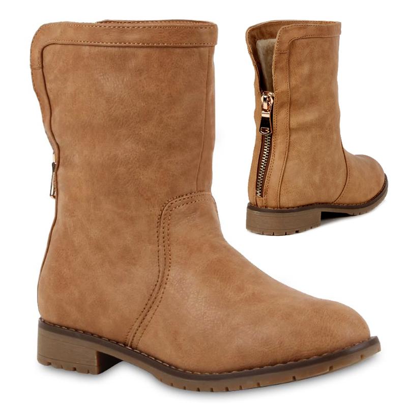 Damen-Worker-Boots-Stiefel-Derbe-Stiefeletten-Gefuetterte-Schuhe-98194-Gr-36-41