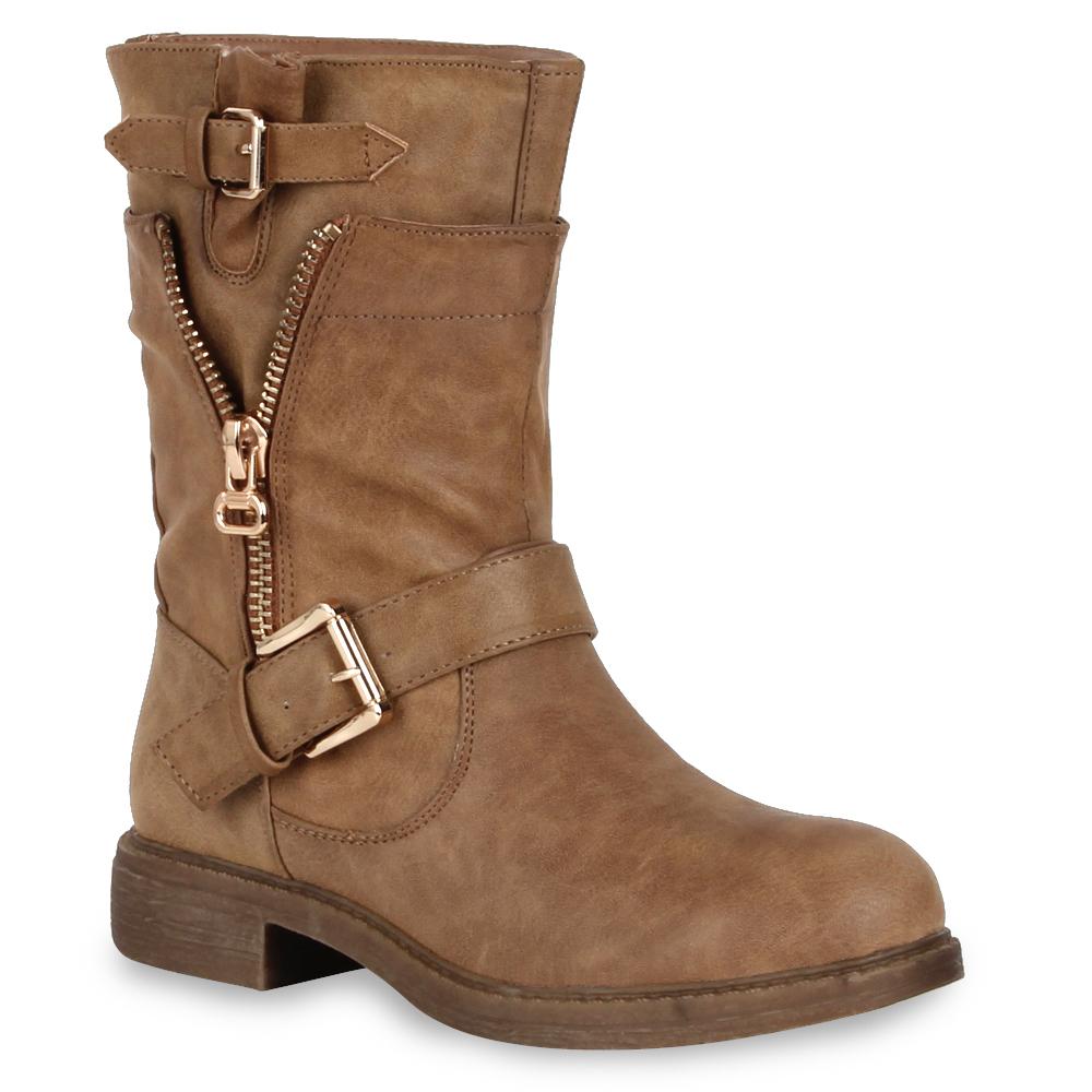 coole damen biker boots stiefeletten outdoor schuhe 98226. Black Bedroom Furniture Sets. Home Design Ideas