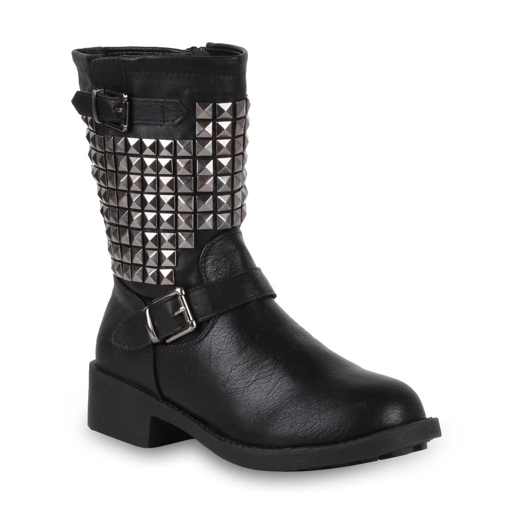derbe damen biker boots nieten stiefel stiefeletten schuhe 98242 gr 36 41 ebay. Black Bedroom Furniture Sets. Home Design Ideas