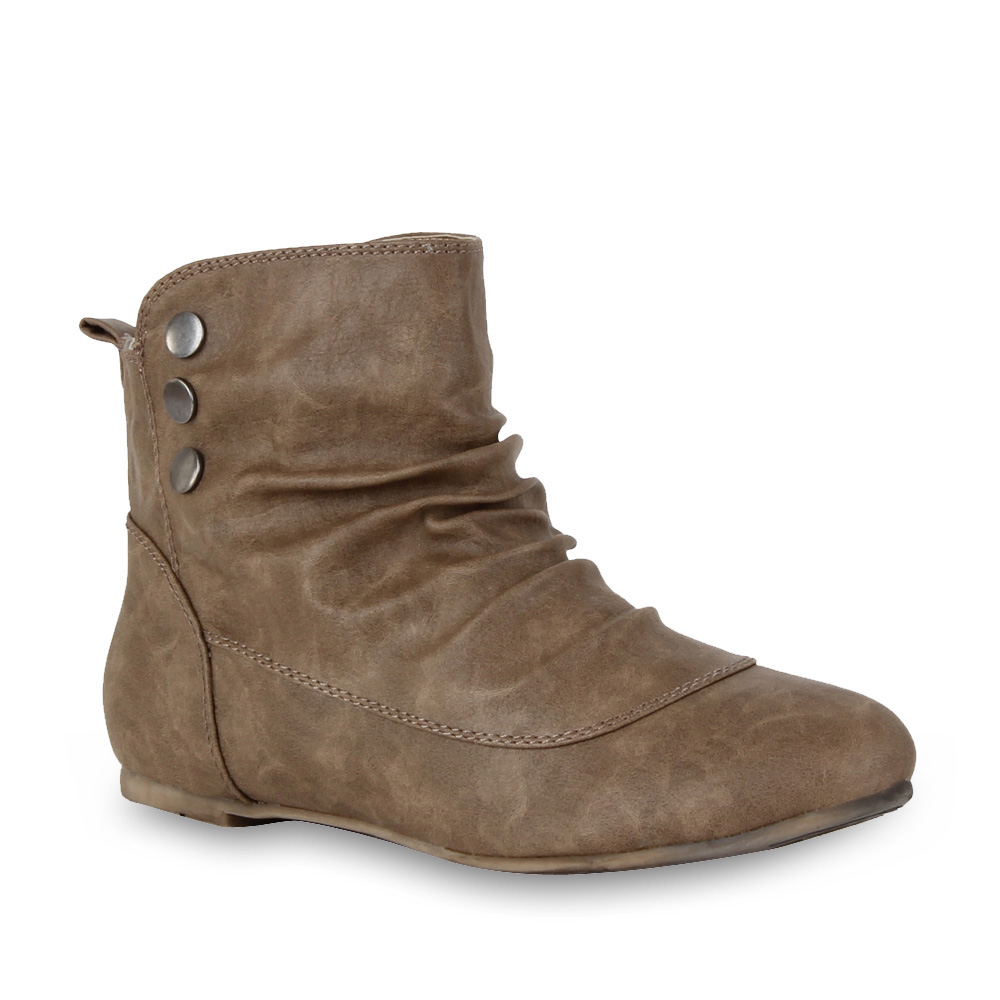 bequeme flache damen stiefeletten ankle boots schuhe. Black Bedroom Furniture Sets. Home Design Ideas