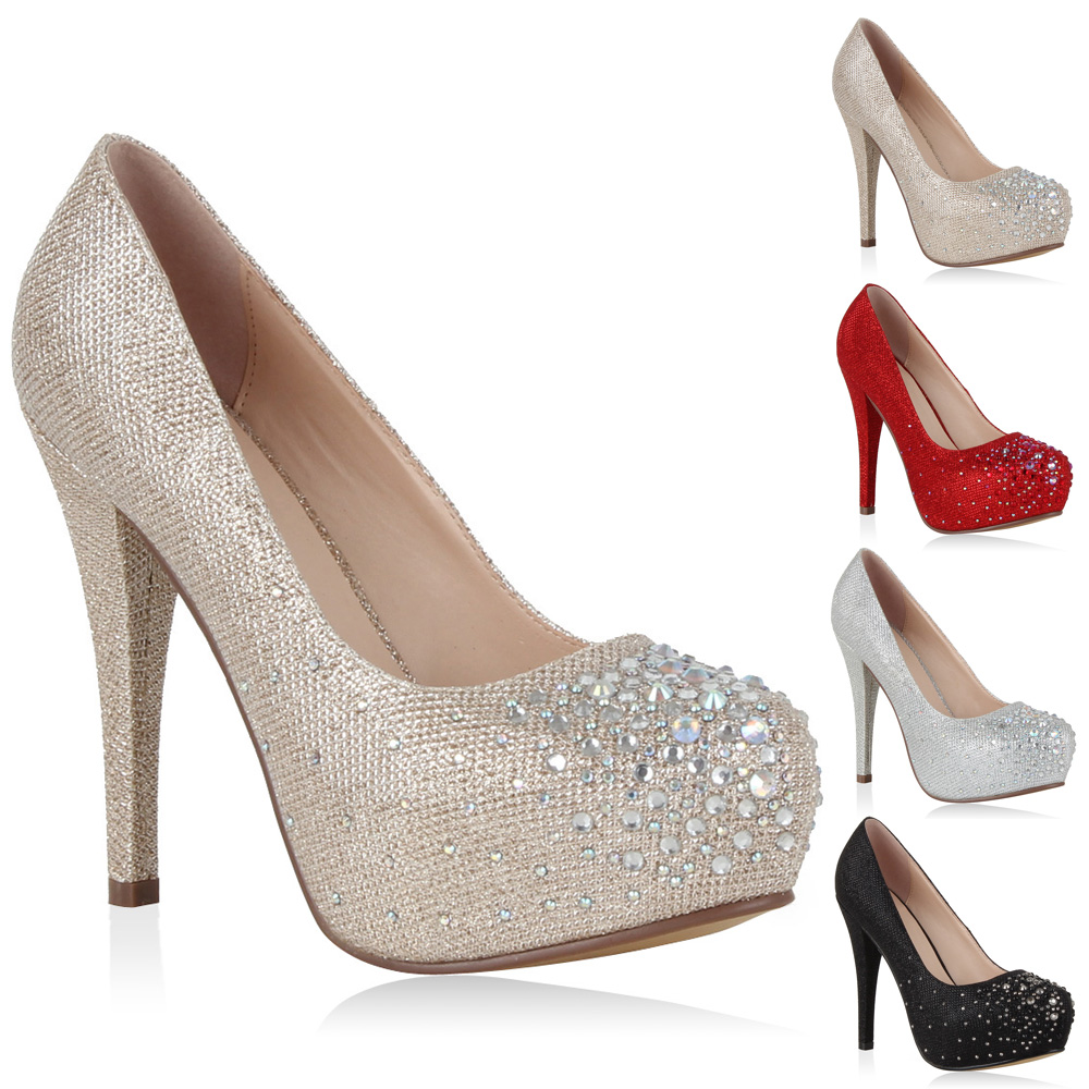 damen pumps plateau high heels glitzer strass party schuhe 98260 gr 36 41 ebay. Black Bedroom Furniture Sets. Home Design Ideas