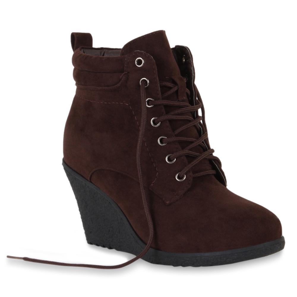damen keilabsatz stiefeletten schn rschuhe ankle boots. Black Bedroom Furniture Sets. Home Design Ideas