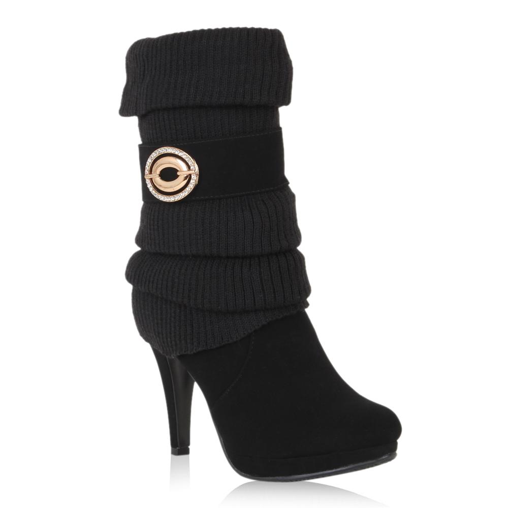 Damen-Stiefel-Strick-Stiefeletten-Schuhe-Leicht-Gefuettert-98177-Gr-36-41