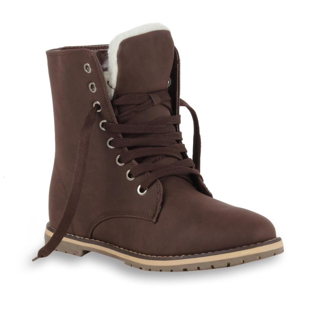 Warm-gefuetterte-Damen-Stiefeletten-Worker-Boots-Schnuerschuhe-98323-Gr-36-41