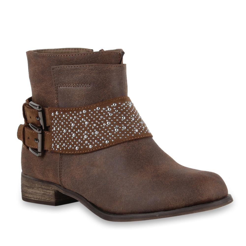 flache bequeme damen ankle boots stiefeletten nieten schuhe 98329 gr 36 41 ebay. Black Bedroom Furniture Sets. Home Design Ideas