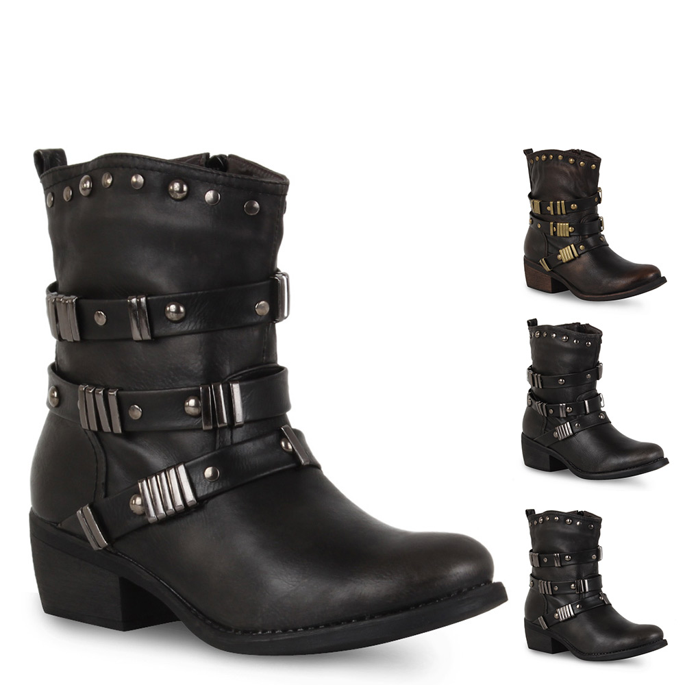 gef tterte damen biker boots stiefeletten nieten schuhe. Black Bedroom Furniture Sets. Home Design Ideas