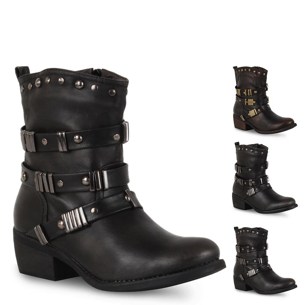 gef tterte damen biker boots stiefeletten nieten schuhe. Black Bedroom Furniture Sets. Home Design Ideas