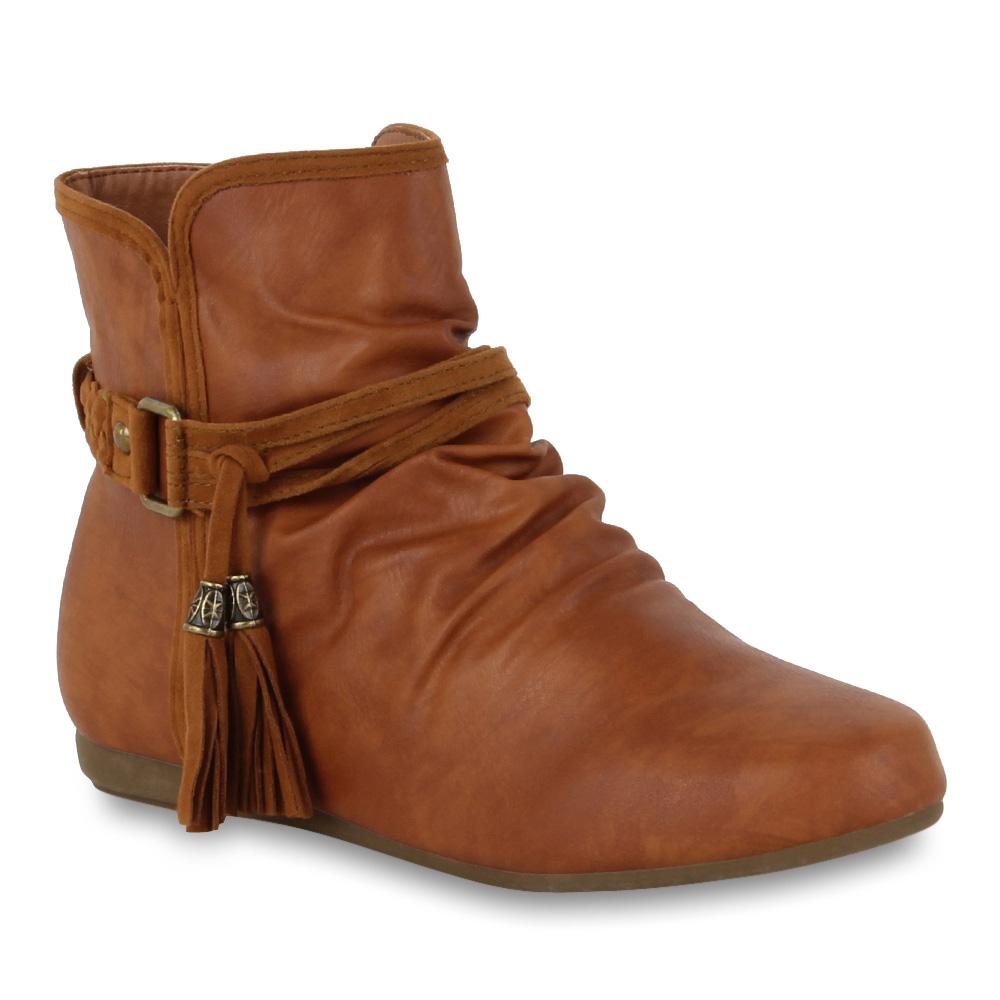 flache damen stiefeletten ankle boots ethno style schuhe. Black Bedroom Furniture Sets. Home Design Ideas