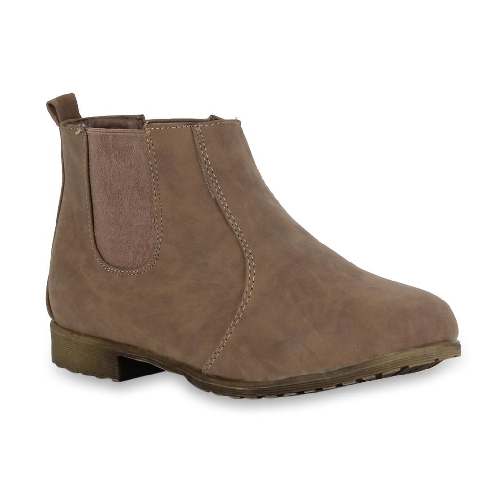 flache damen stiefeletten chelsea boots lederoptik schuhe 98402 gr 36 41 ebay. Black Bedroom Furniture Sets. Home Design Ideas