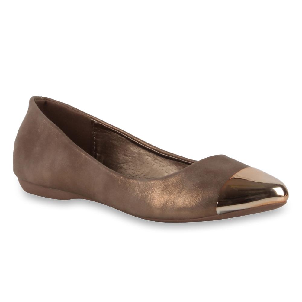 damen ballerinas metallic gold spitze slippers schuhe 98437 gr 36 41 ebay. Black Bedroom Furniture Sets. Home Design Ideas