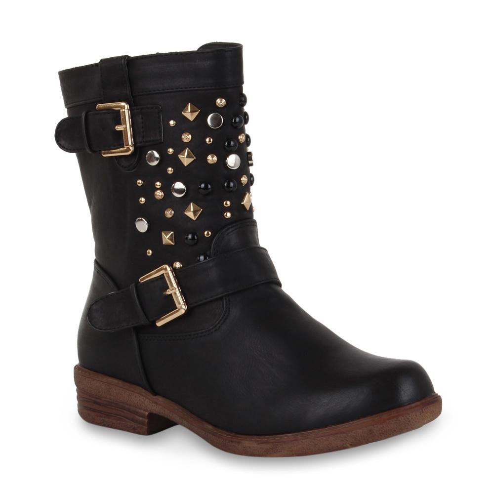 coole damen biker boots nieten stiefeletten stiefel schuhe 98441 gr 36 41 ebay. Black Bedroom Furniture Sets. Home Design Ideas