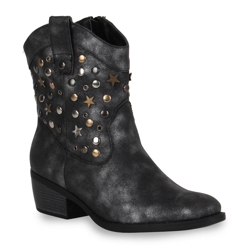 damen cowboy stiefeletten western boots stiefel schuhe 98481 gr 36 41 new look ebay. Black Bedroom Furniture Sets. Home Design Ideas
