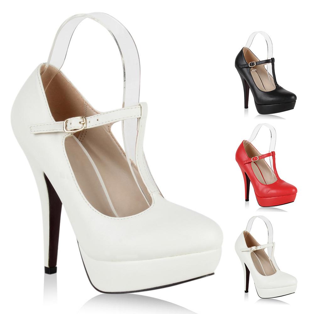 damen pumps riemchen high heels t strap plateau schuhe. Black Bedroom Furniture Sets. Home Design Ideas
