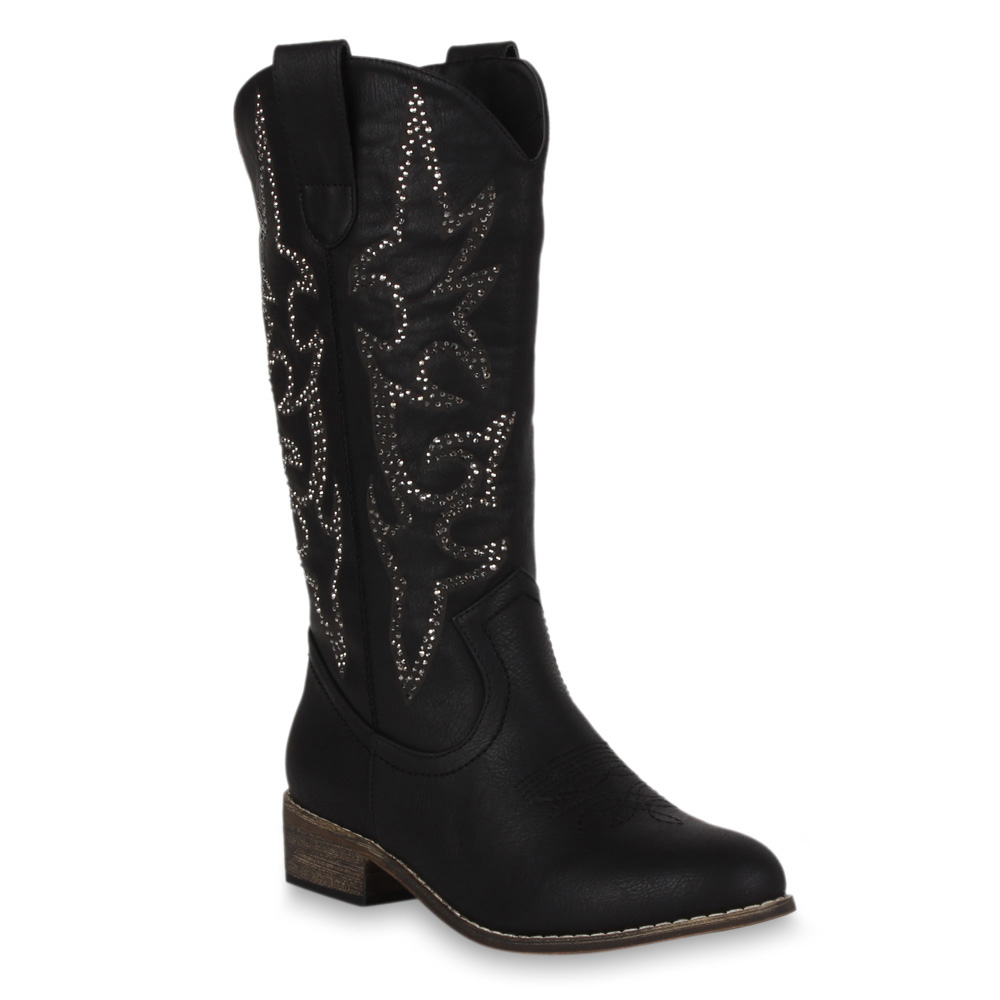 damen cowboy stiefel western boots tribal 98536 weitschaft schuhe 36 41 new look ebay. Black Bedroom Furniture Sets. Home Design Ideas