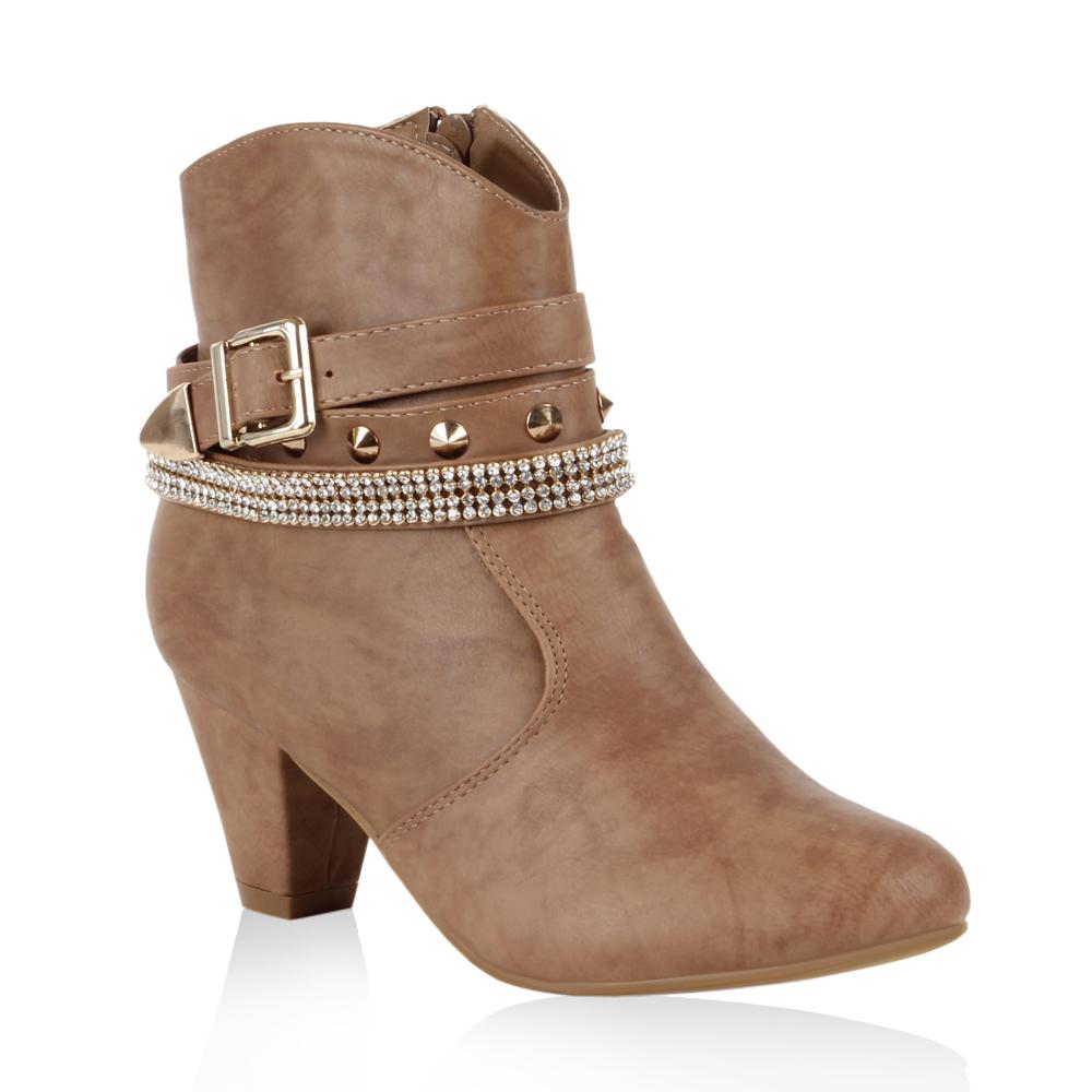 damen cowboy stiefeletten ankle boots nieten stiefel. Black Bedroom Furniture Sets. Home Design Ideas