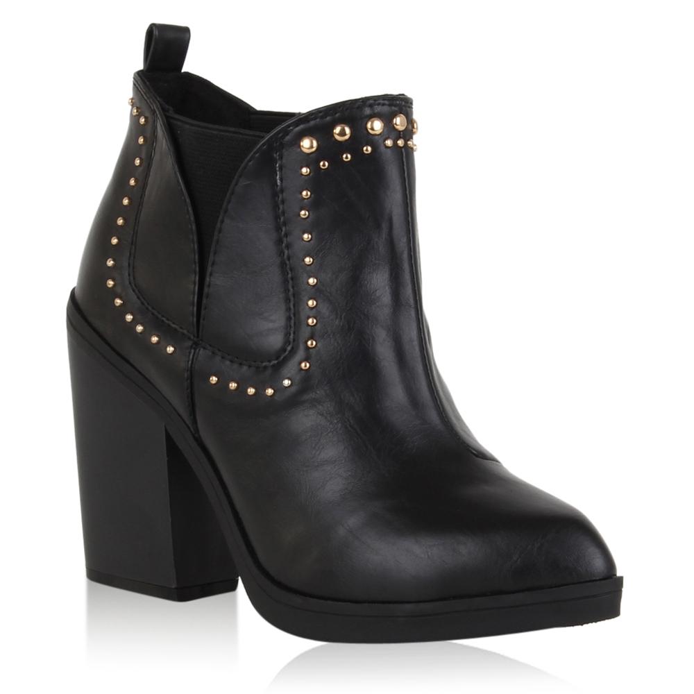 damen stiefeletten blockabsatz ankle boots nieten schuhe. Black Bedroom Furniture Sets. Home Design Ideas
