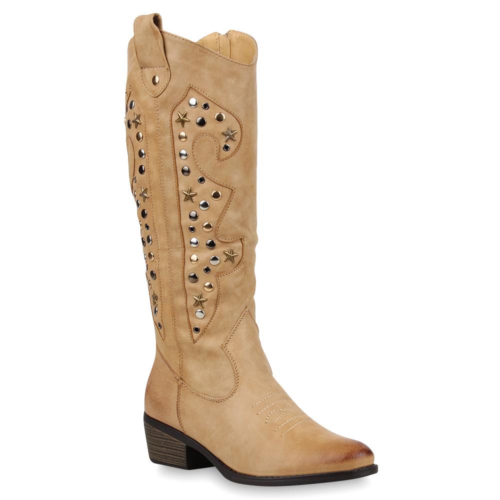 coole damen nieten stiefel cowboy western hochschaft boots 98581 gr 36 41. Black Bedroom Furniture Sets. Home Design Ideas