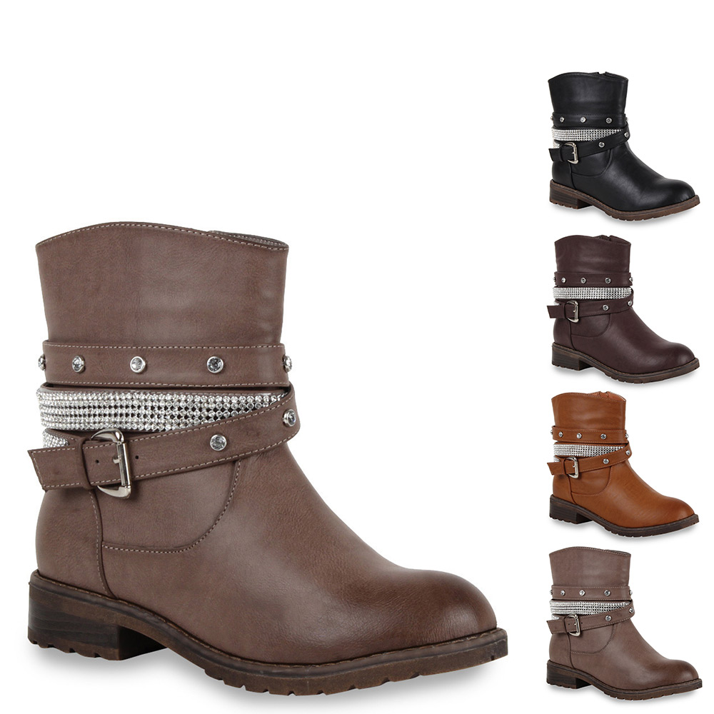 ausgefallene damen stiefeletten strass biker boots stiefel 98599 gr 36 41 ebay. Black Bedroom Furniture Sets. Home Design Ideas
