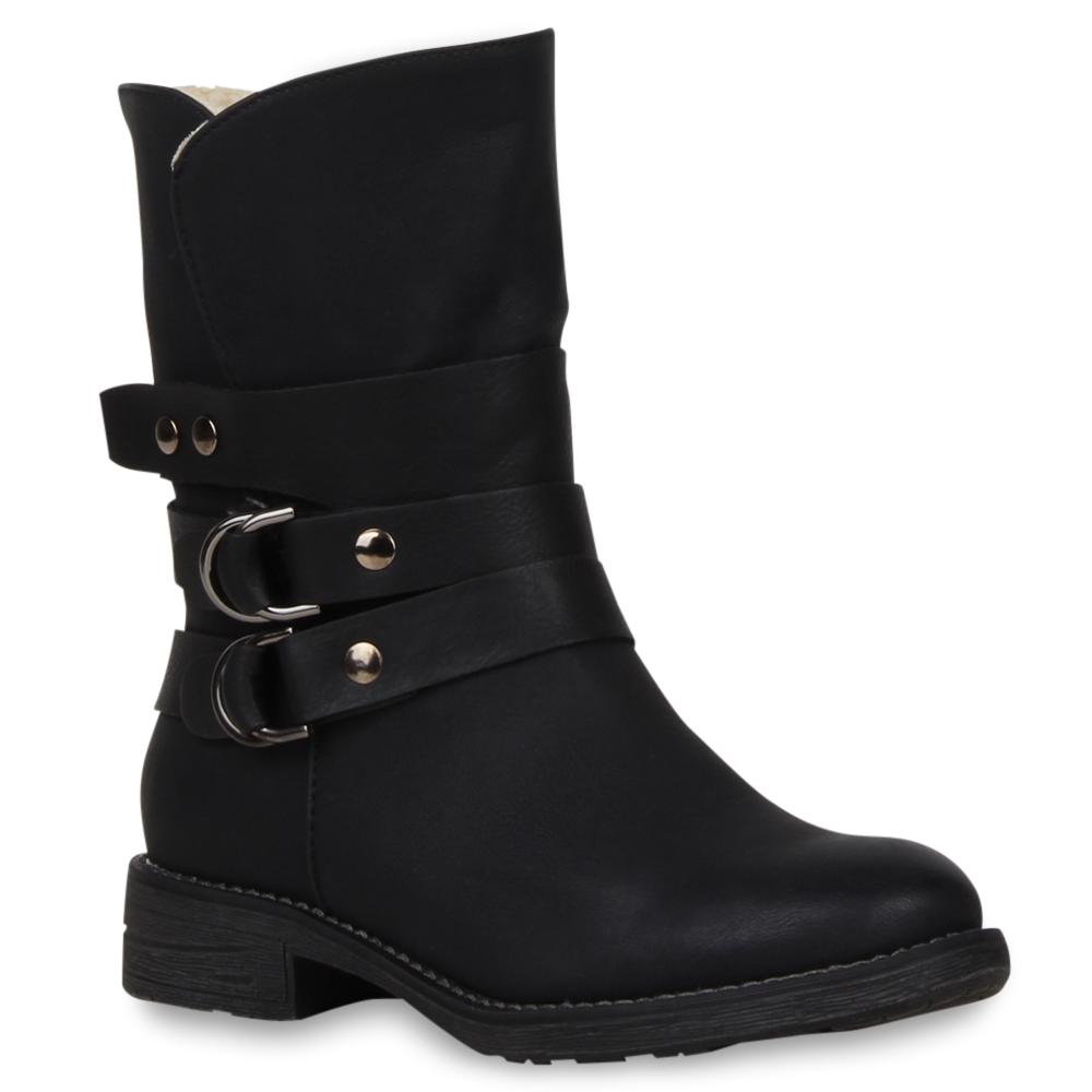 Damen Stiefeletten Gefütterte Biker Boots Lederoptik Schuhe 98694 Gr. 36-41