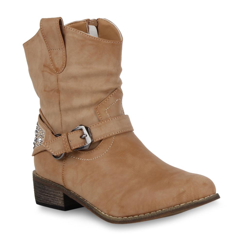 Damen Cowboy Stiefeletten Western Stiefel Lederoptik Schuhe 98703 Gr. 36-41