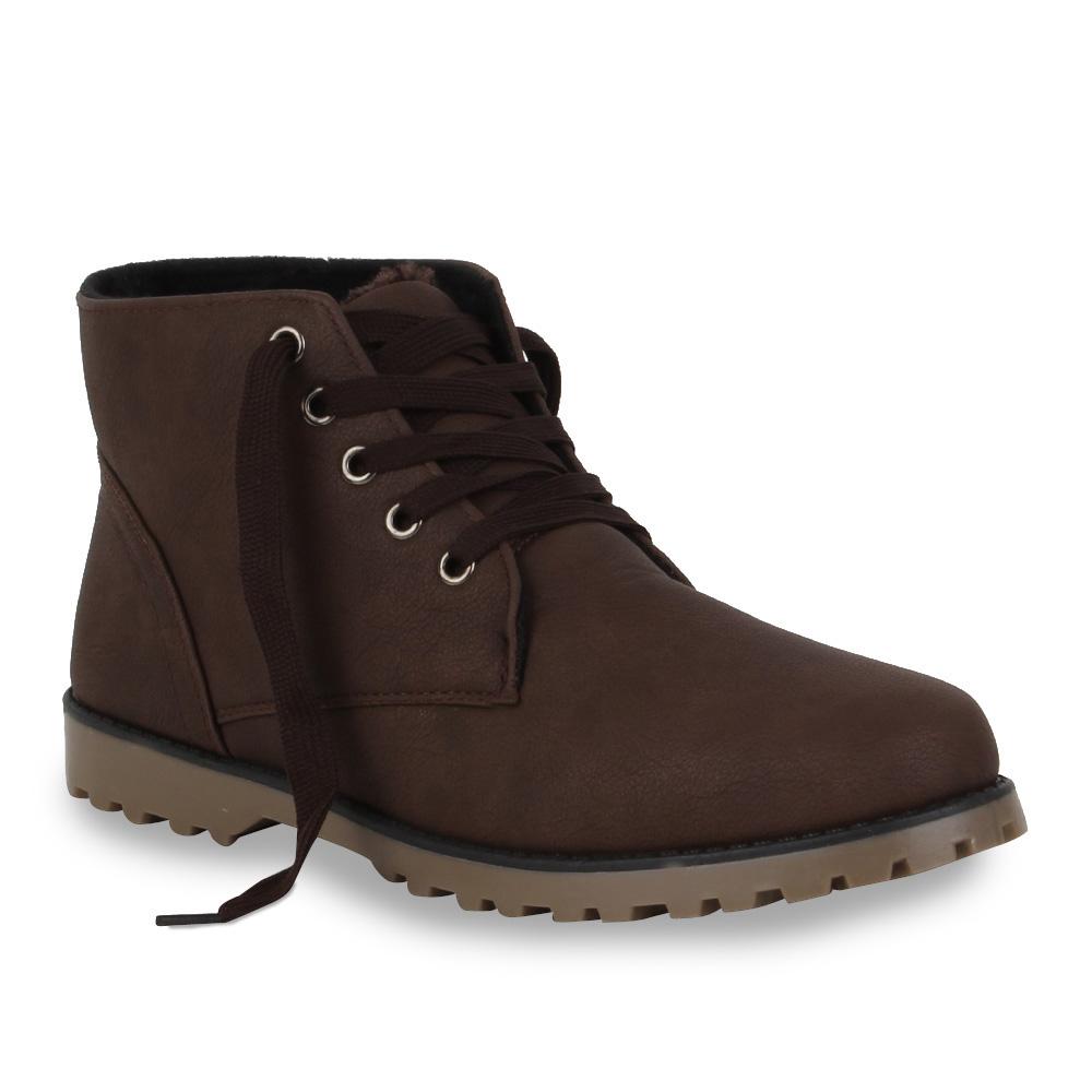 Herren-Schnuerstiefel-Boots-Schuhe-Lederoptik-98712-Gr-41-46-Mens-Special