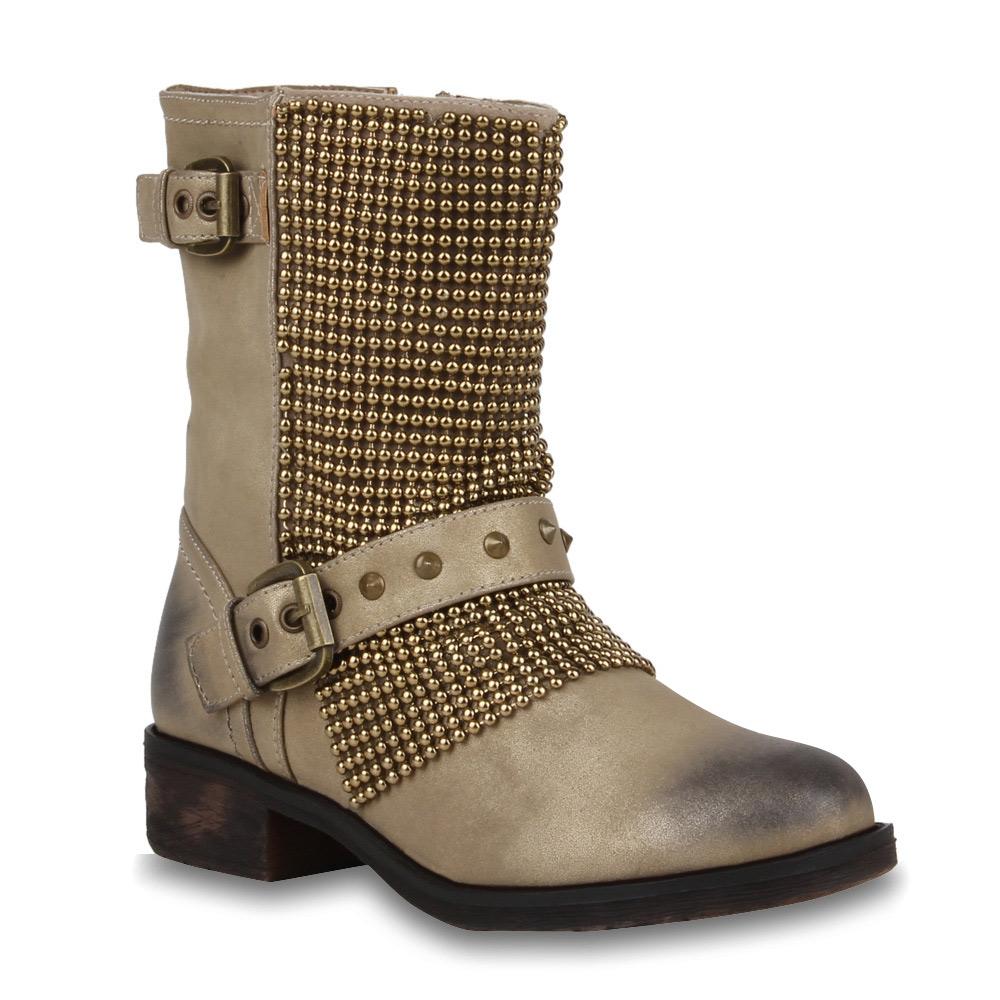 coole damen biker boots nieten stiefeletten schuhe. Black Bedroom Furniture Sets. Home Design Ideas