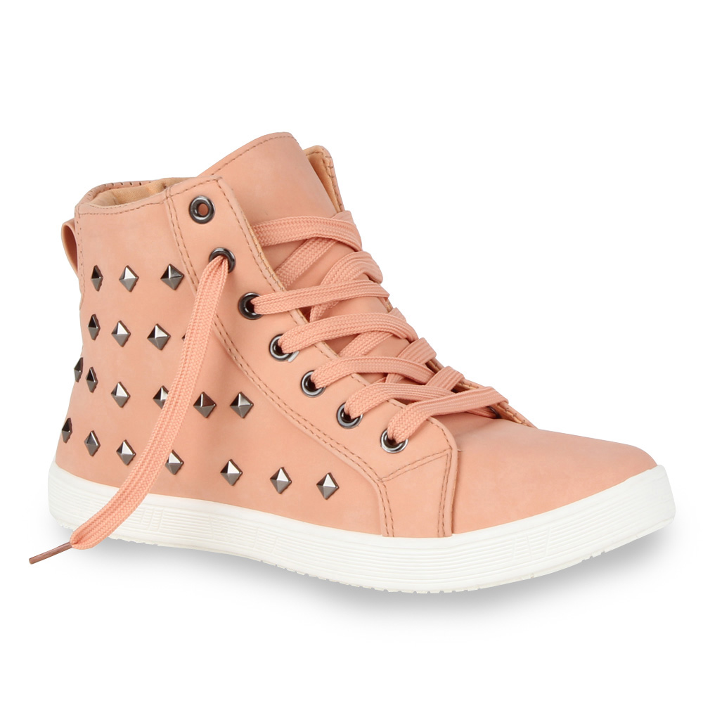 Damen Nieten Sneakers Freizeit Sportschuhe Ankle Boots 98841 Gr. 36-41 Top