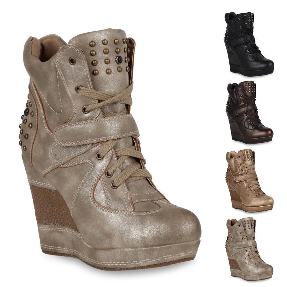 7e6d87eb7517 Das Bild wird geladen Damen-Stiefeletten-Wedges-High-Top-Sneakers-Keilabsatz -Schuhe-