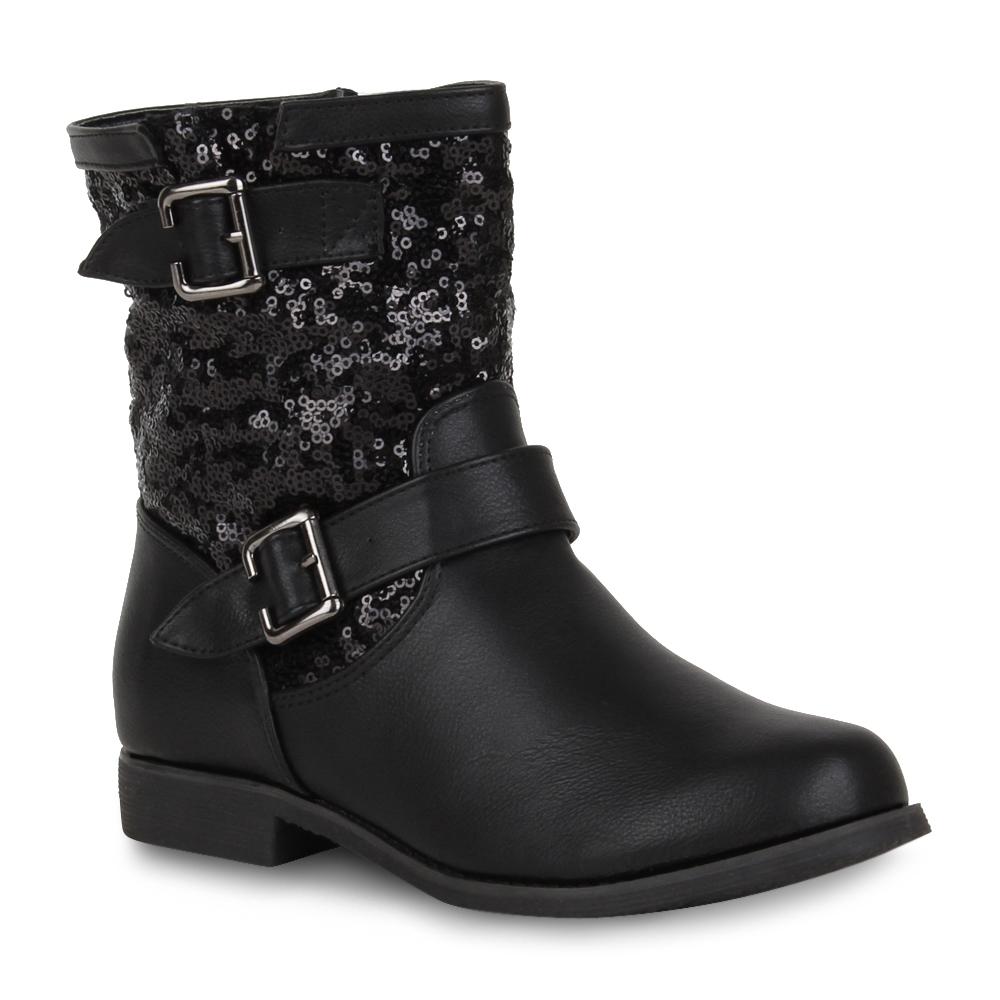 damen biker boots stiefeletten pailletten schuhe 98895 gr. Black Bedroom Furniture Sets. Home Design Ideas