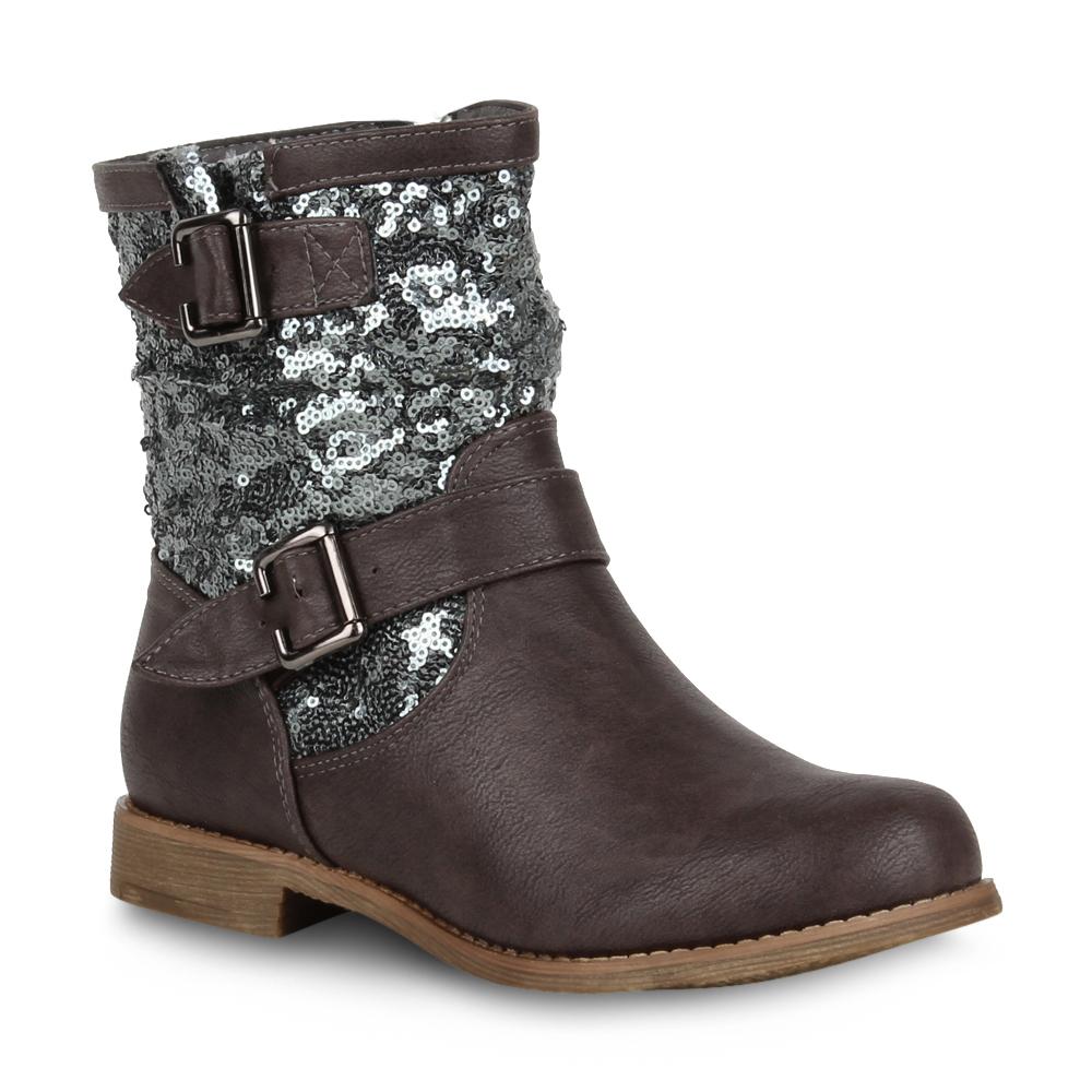 damen biker boots stiefeletten pailletten schuhe 98895 gr 36 42 ebay. Black Bedroom Furniture Sets. Home Design Ideas