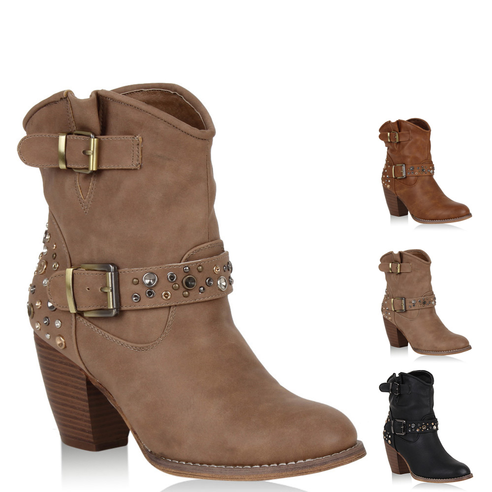 damen cowboy stiefeletten western boots nieten schuhe 98963 gr 36 41 ebay. Black Bedroom Furniture Sets. Home Design Ideas