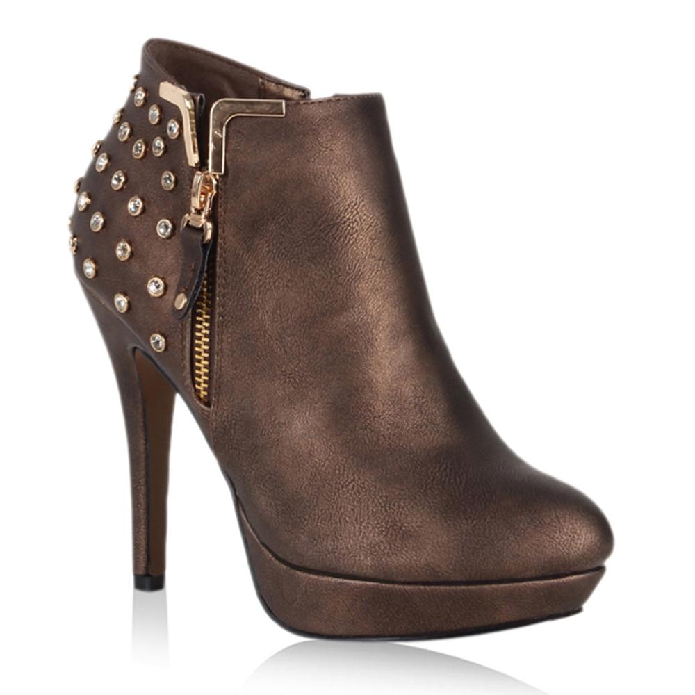 sexy damen ankle boots stiefeletten metallic nieten high. Black Bedroom Furniture Sets. Home Design Ideas
