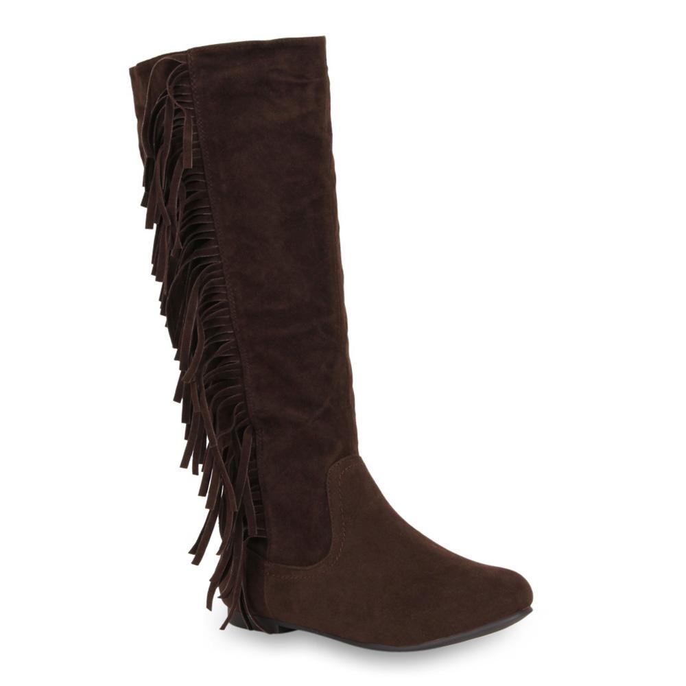 coole damen stiefel fransen ethno boots flache schuhe. Black Bedroom Furniture Sets. Home Design Ideas