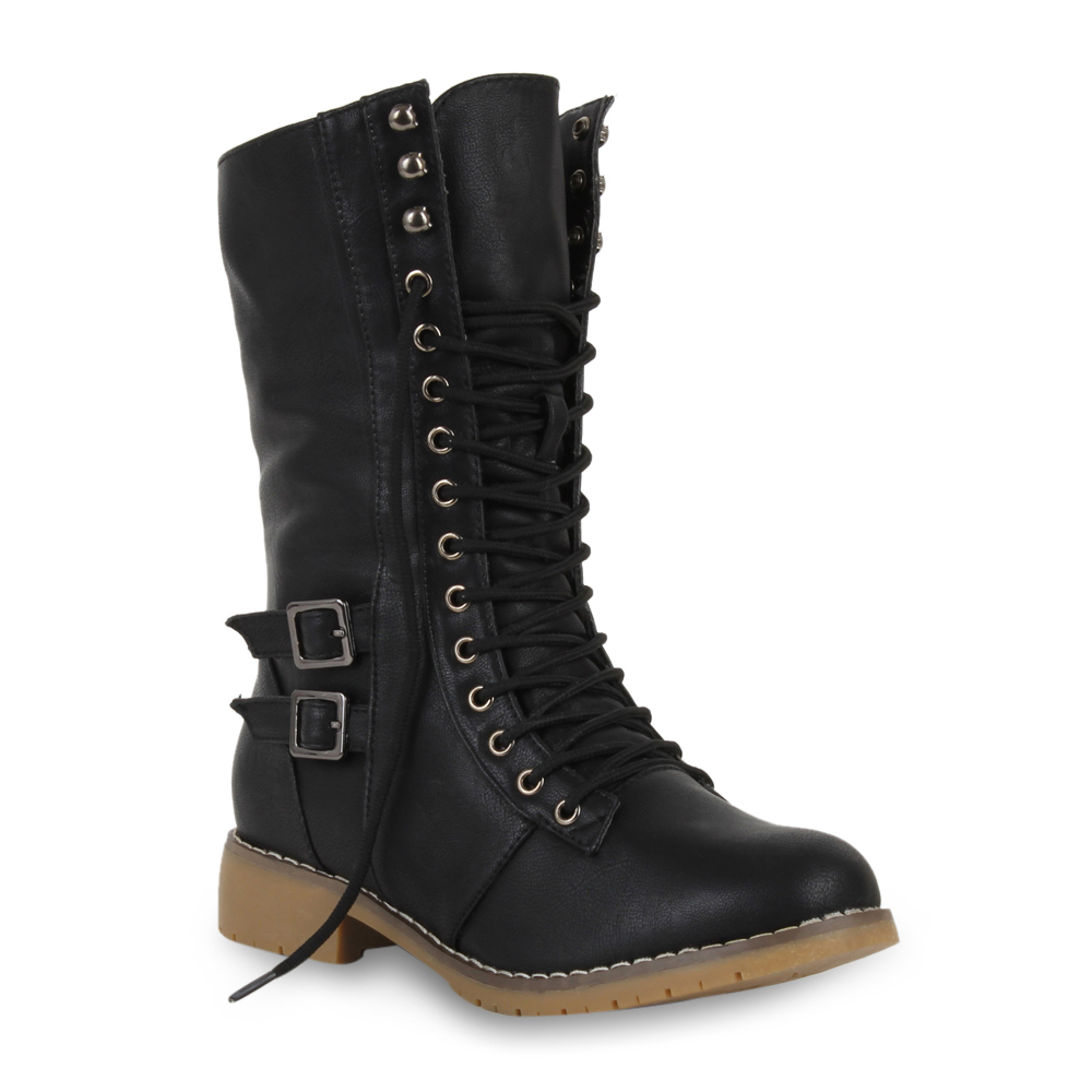 Warm Gefütterte Damen Stiefeletten Worker Boots Schnürstiefel 70057 Gr. 36-41