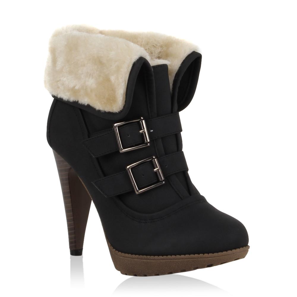 sexy damen stiefeletten winter high heels schuhe gef ttert. Black Bedroom Furniture Sets. Home Design Ideas