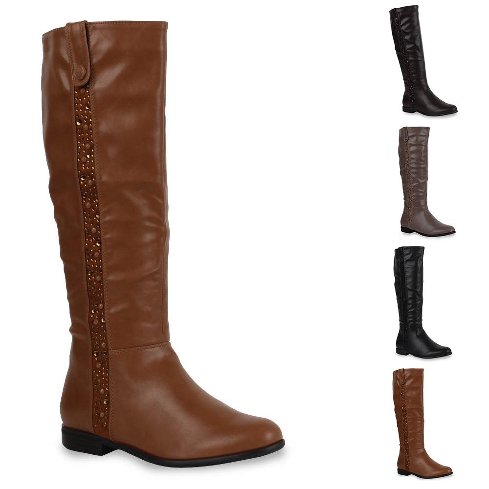 elegante damen stiefel strass nieten schuhe boots 70083 gr 36 41 ebay. Black Bedroom Furniture Sets. Home Design Ideas