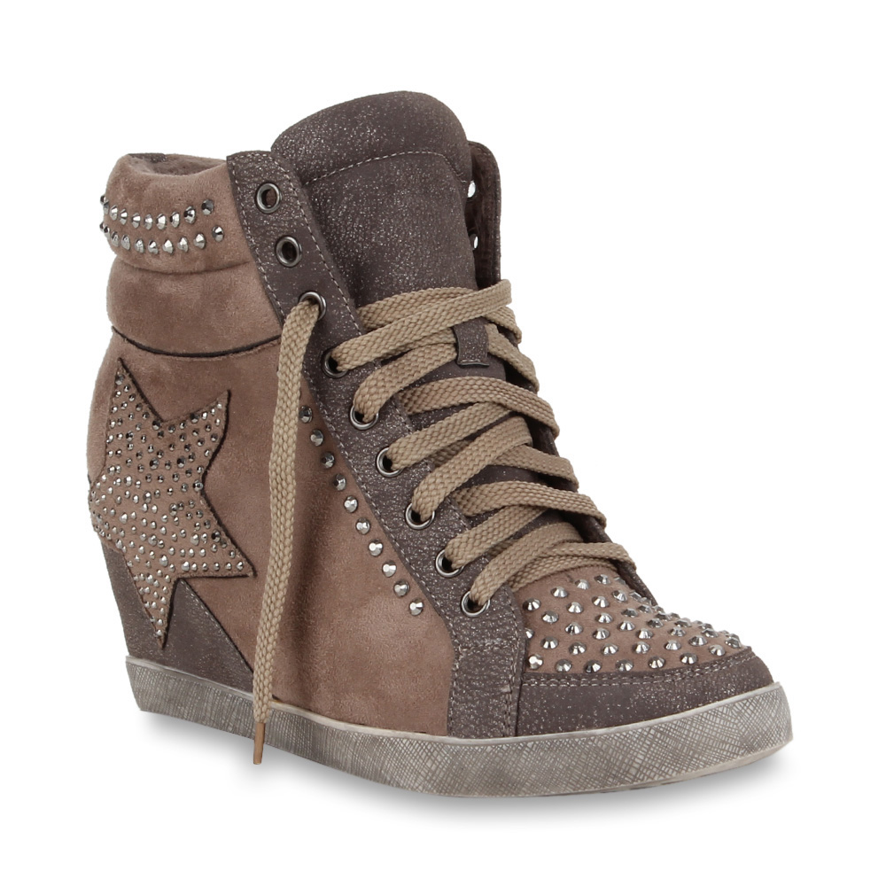 damen sneaker wedges sportliche keilabsatz stiefeletten schuhe 70092 gr 36 41 ebay. Black Bedroom Furniture Sets. Home Design Ideas