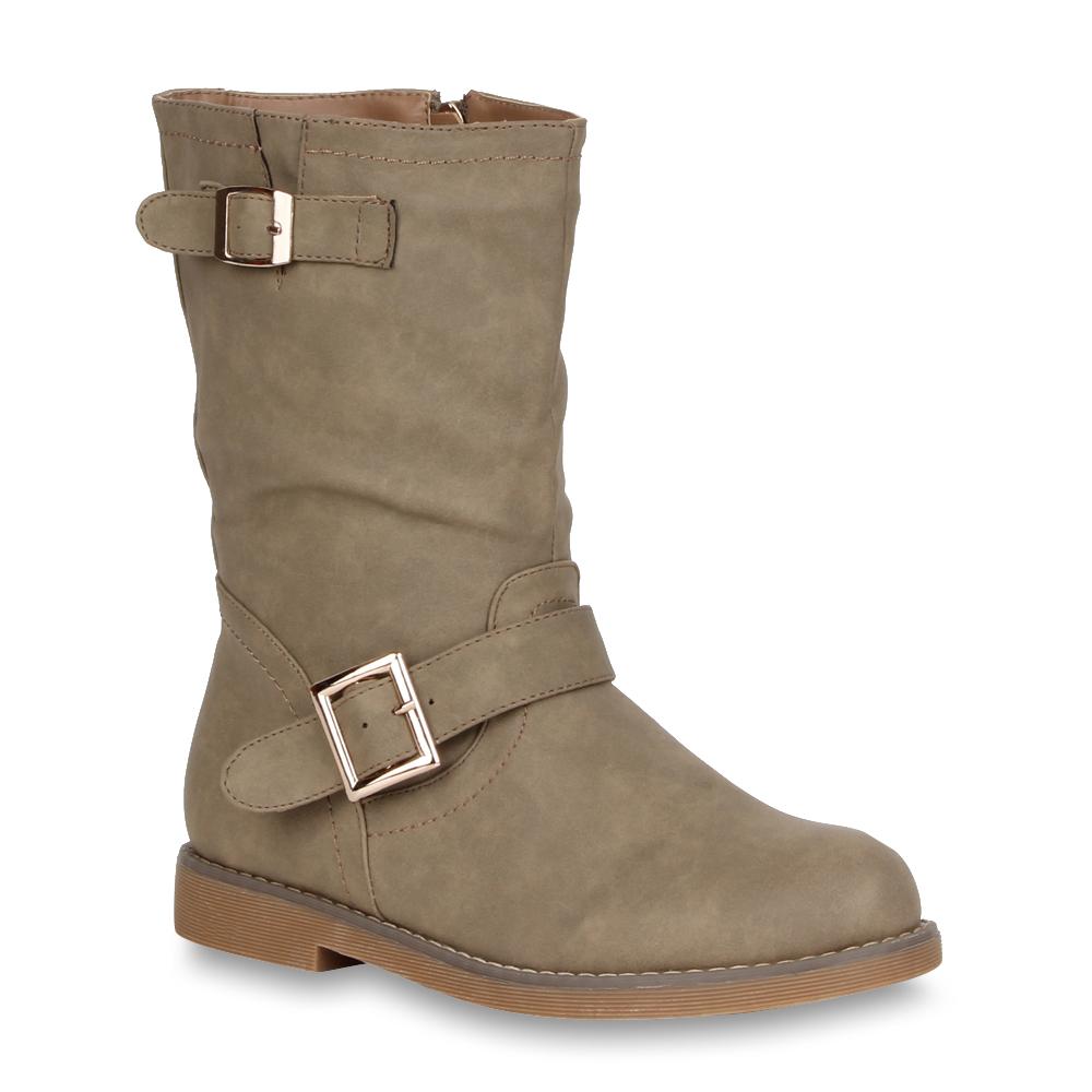 Coole-Damen-Stiefeletten-Biker-Boots-Lederoptik-Schuhe-98422-Gr-36-41