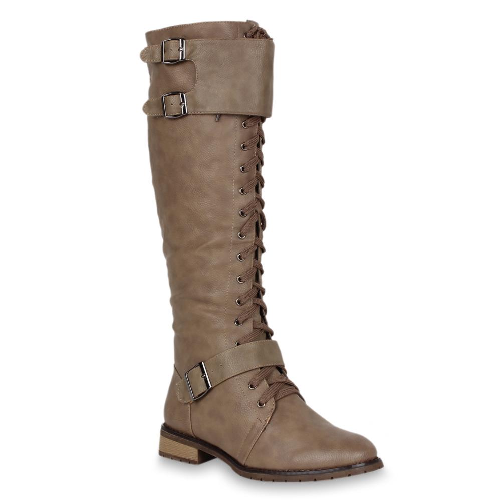 Moderne-Damen-Stiefel-Schnuerstiefel-Blockabsatz-Schuhe-70136-Gr-36-41