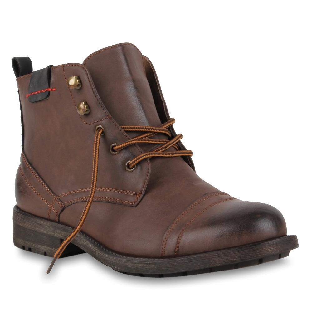 Herren-Worker-Boots-Schnuerstiefel-Lederoptik-Schuhe-70127-Gr-40-45