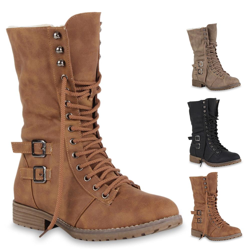 worker boots damen stiefel schuhe 70217 gef ttert basic. Black Bedroom Furniture Sets. Home Design Ideas
