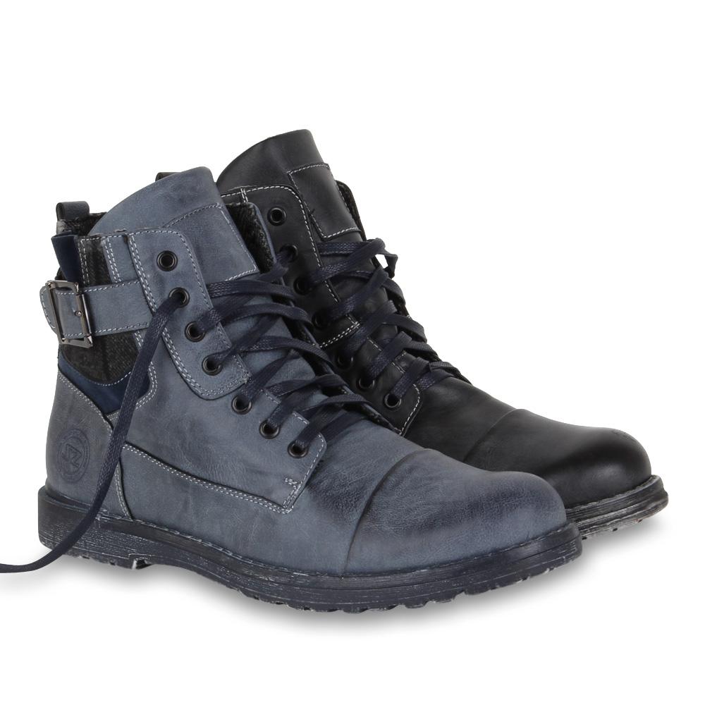 worker boots herren boots schn rer schuhe 70248 karo trend 2014 gr 40 45 ebay. Black Bedroom Furniture Sets. Home Design Ideas