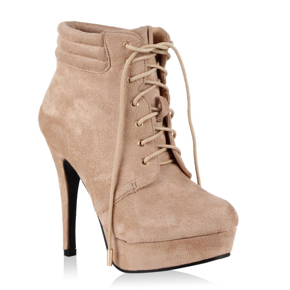 damen stiefeletten high heels ankle boots geschn rt 70282. Black Bedroom Furniture Sets. Home Design Ideas
