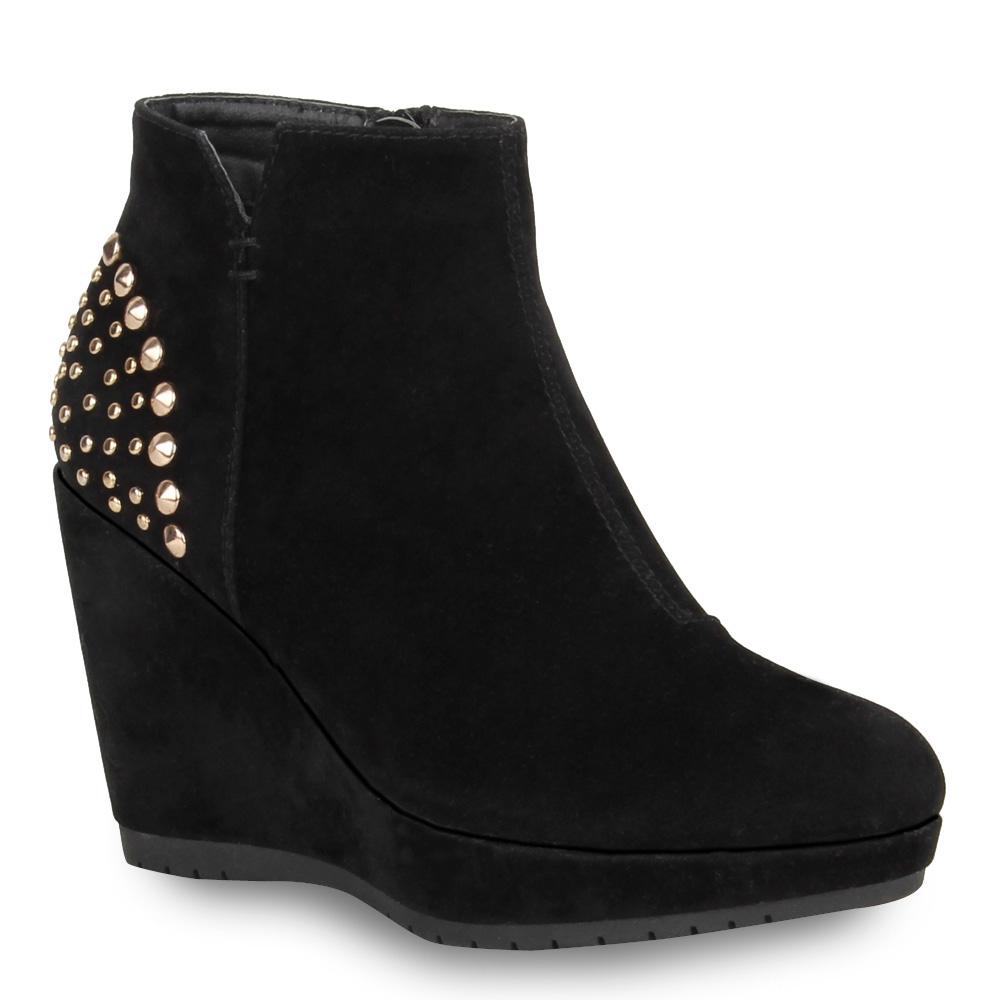 damen ankle boots keilabsatz stiefeletten nieten hidden. Black Bedroom Furniture Sets. Home Design Ideas