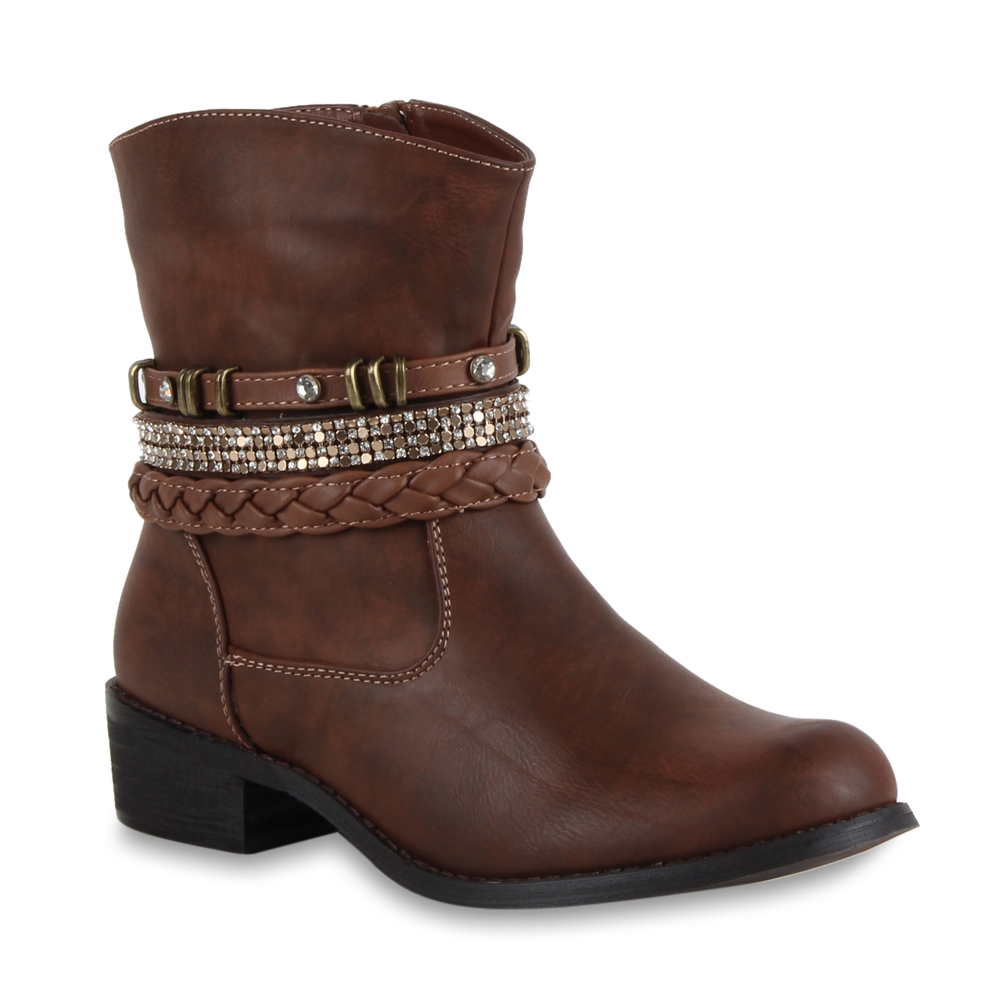 damen stiefeletten strass nieten biker boots stiefel schuhe 70440 gr 36 41 top ebay. Black Bedroom Furniture Sets. Home Design Ideas