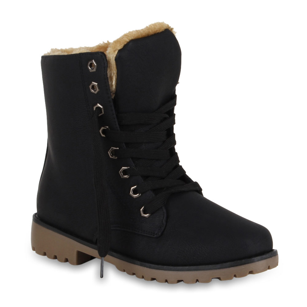 warm gef tterte damen stiefeletten worker boots. Black Bedroom Furniture Sets. Home Design Ideas