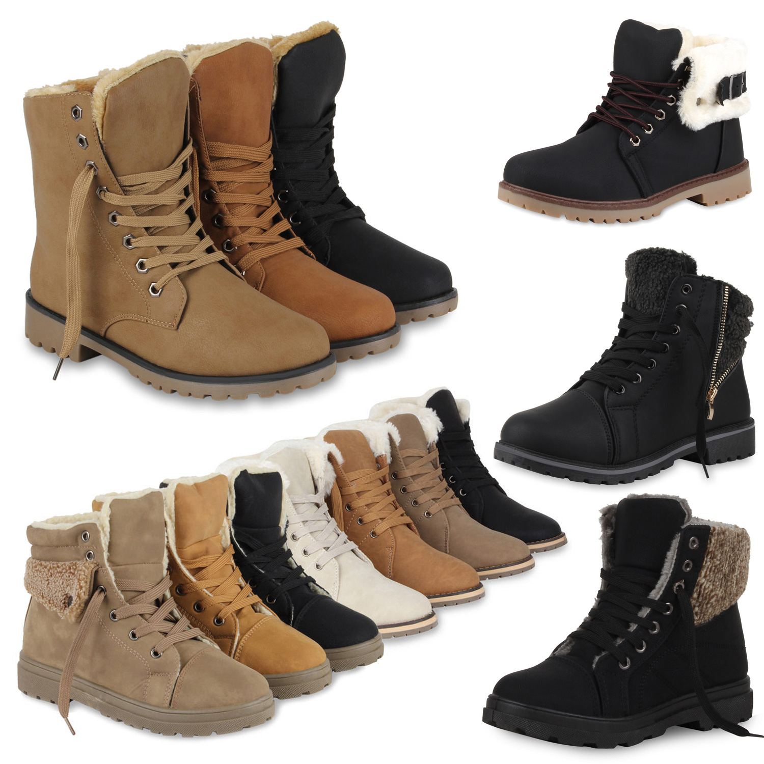 damen winter stiefeletten worker boots gef tterte stiefel 70497 gr 36 41 ebay. Black Bedroom Furniture Sets. Home Design Ideas